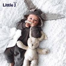 Little J Baby Warm Bunny Ear Rompers Autumn Winter Infant Rabbit Style Jumpsuit Cotton Boys Girls Hare Playsuits Hooded Clothes