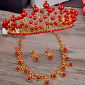 women wedding jewelry sets pearl crowns & tiaras necklace earrings set for bridal 3 pieces/set