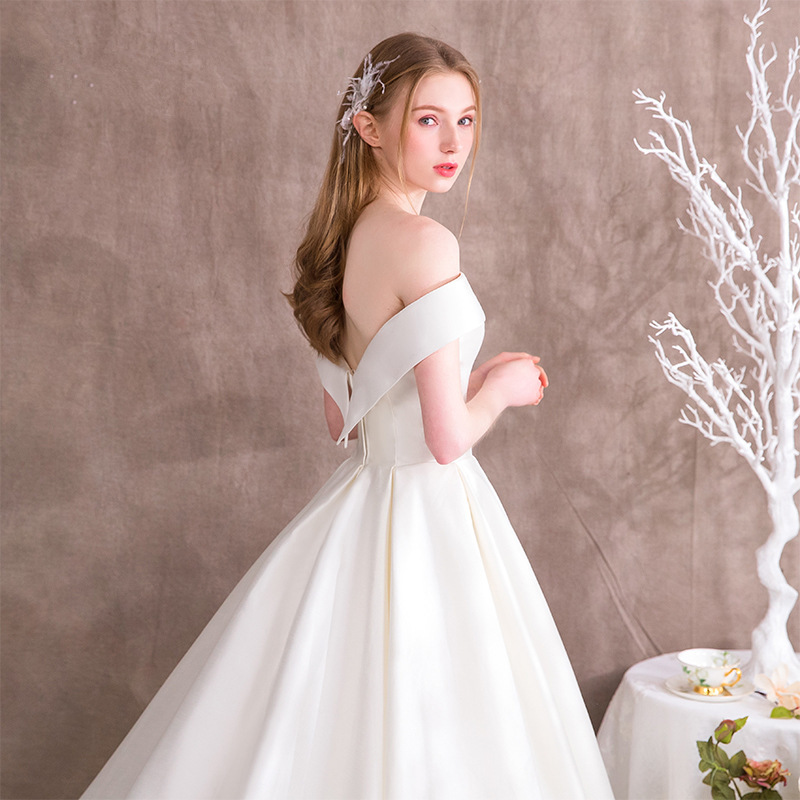 Vivian S Bridal 2018 Fashion Off Shoulder Satin Wedding Dress Fantasy Princess Court Train Customized Long Elegant In Dresses From