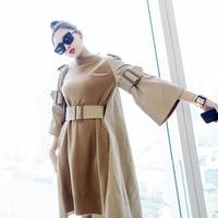 SuperAen Korean Style Fashion Women Dress 2017 Autumn New Dress Flare Sleeves Splicing Cotton Dress Girls