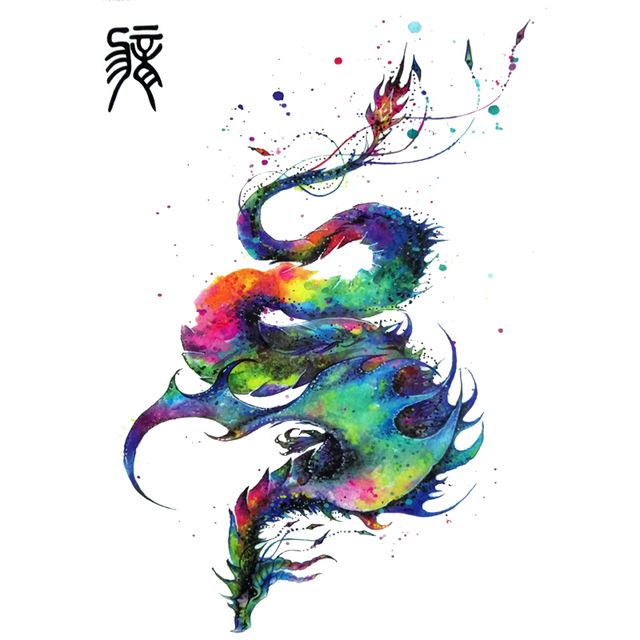 Harajuku Colorful Chinese Flying Dragon Tattoo Designs Cool Chinese Zodiac Waterproof Temporary Tattoos