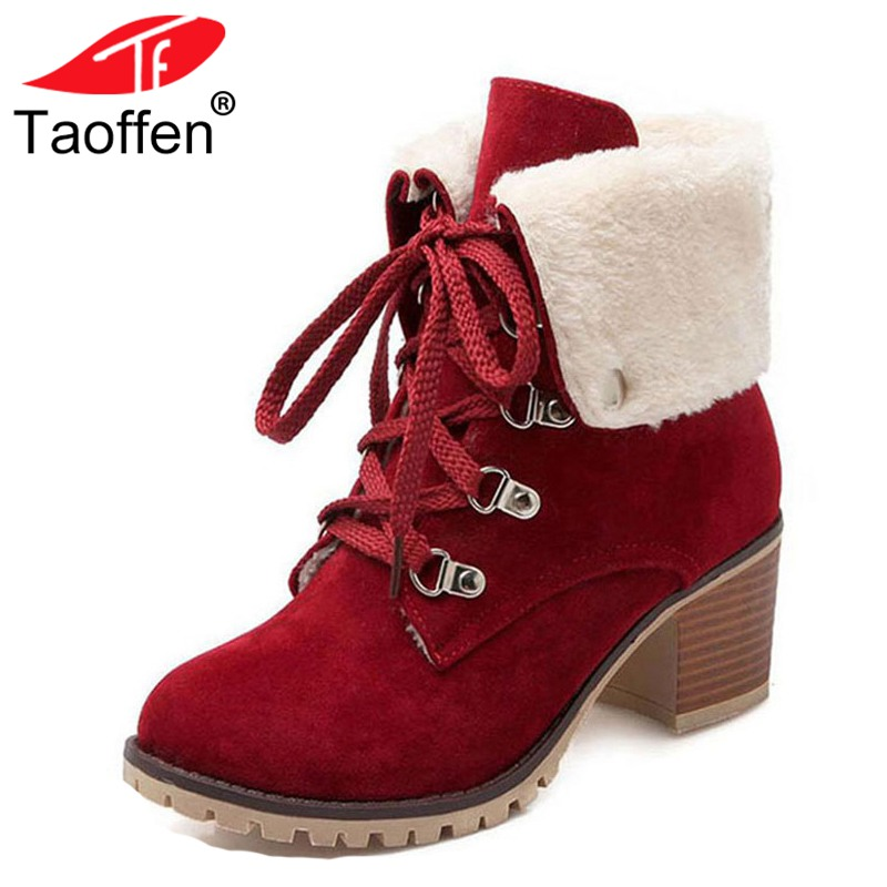 TAOFFEN Size 34-43 Ladies Thick Fur Ankle Boots Women High Heels Short Boots With Fur Shoes Women Winter Warm Botas Footwear taoffen winter real leather boots thickened fur women boots short ankle snow boots lady buckle footwear women shoes size 33 42