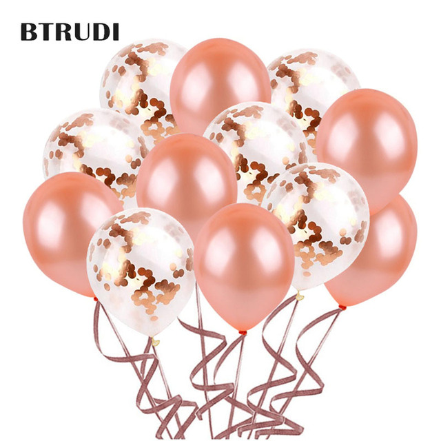 BTRUDI 40pcs /lot 12inch Rose Gold Latex Kids Balloon for Wedding Birthday 2.8 g Decorations High Quality Party Decorations