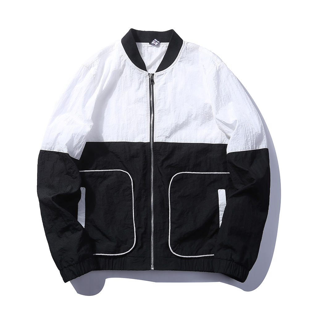 Patch Work noir gris blanc couleur veste à glissière hommes mode Design coupe-vent Bomber veste hommes décontractée porter veste mâle taille EU