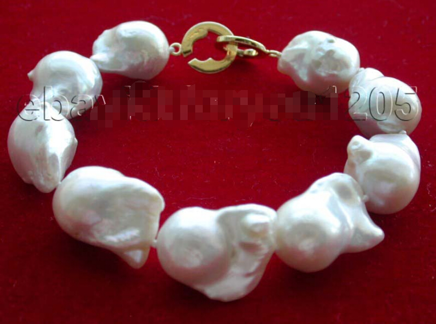 A 8.5 Genuine Natural 21mm White Reborn Keshi Pearl Bracelet 14KGP!A 8.5 Genuine Natural 21mm White Reborn Keshi Pearl Bracelet 14KGP!