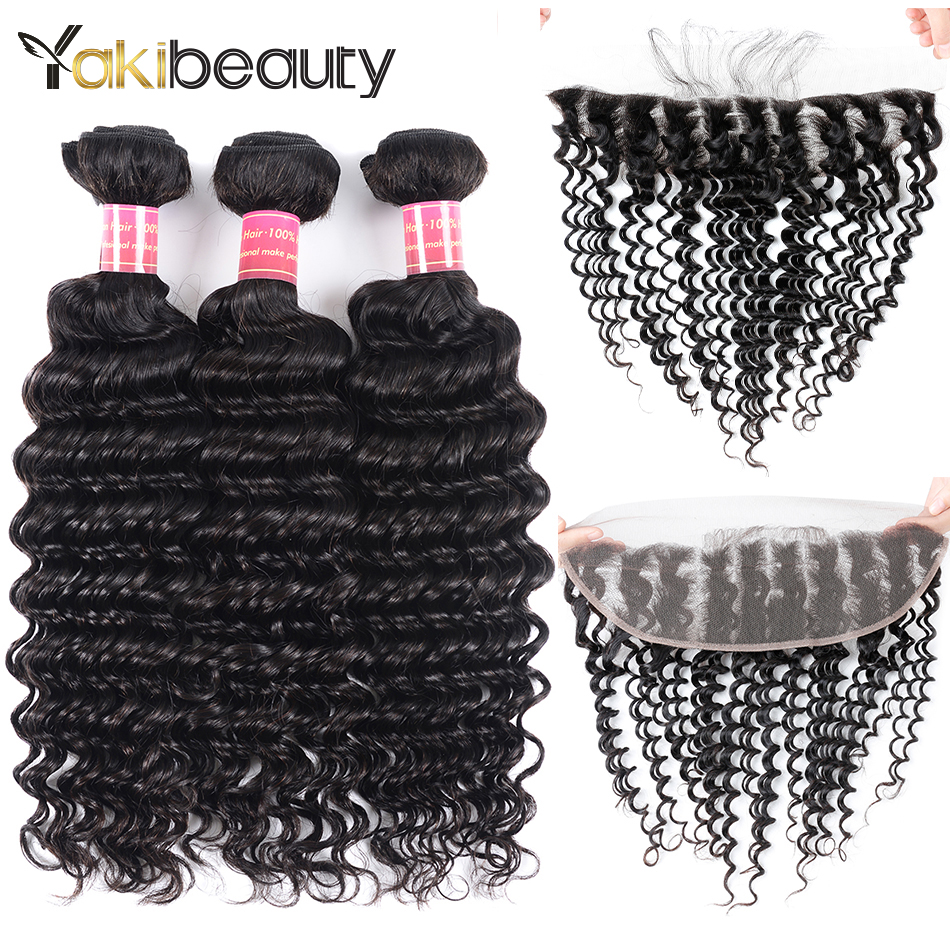 3 Bundles Brazilian Deep Wave Bundles With Frontal 100% Remy Human Hair Bundles With Frontal Closure Natural Black Yakibeauty