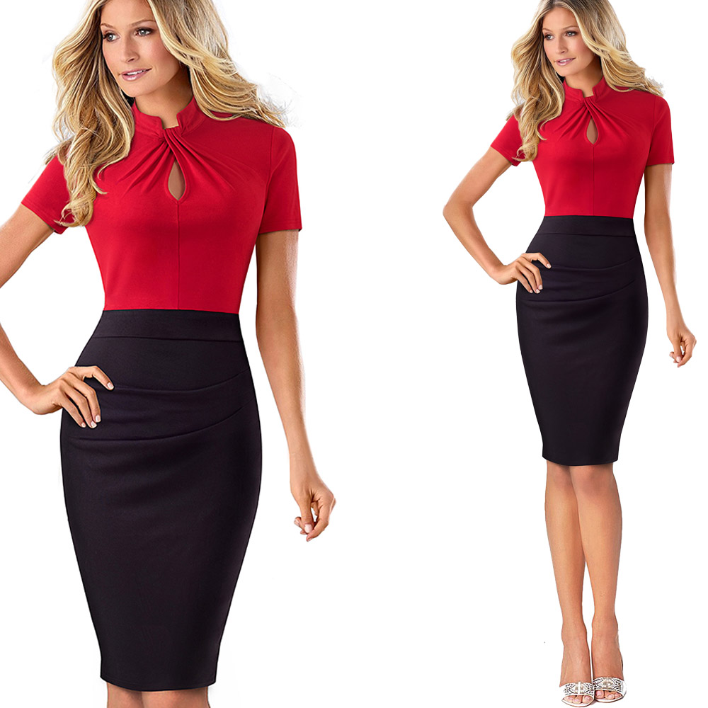 Nice-forever Vintage Contrast Color Patchwork Wear to Work Knot vestidos Bodycon Office Business Sheath Women Dress B430 20