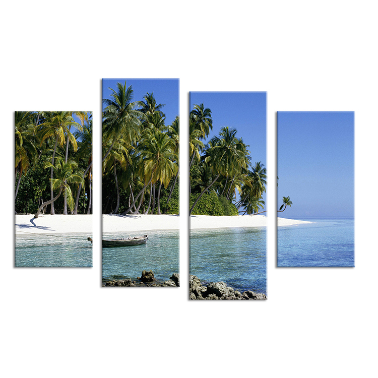 Hot Sells 4 Panels Landscape Of Tropical Island Painting Wall Art Picture Home Decoration For Living Room Printed Modern Art