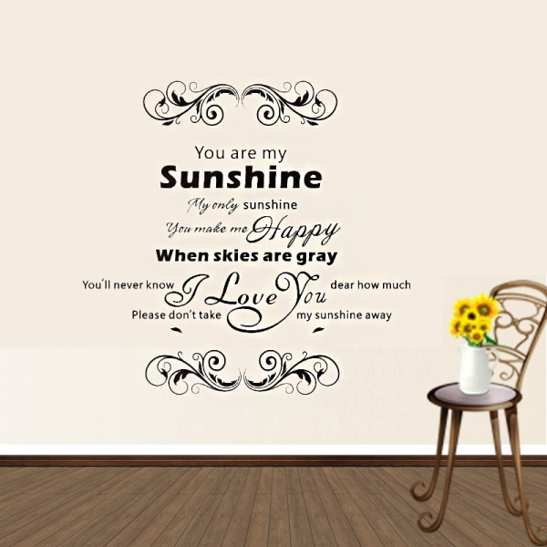 Warm home decoration you are my sunshine quote wall stickers home decor Classic vine vinyl wall stickers home decor