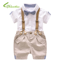 Summer Toddler Baby Boys Clothing Sets Short Sleeve Bow Tie Shirt+Suspenders Shorts Pants Formal Gentleman Suits Boys Clothes