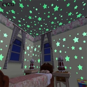 100pcs/lot 3D Stars Glow In The Dark Wall Stickers Luminous Fluorescent Wall Stickers For Kids Room Bedroom Ceiling Home Decor