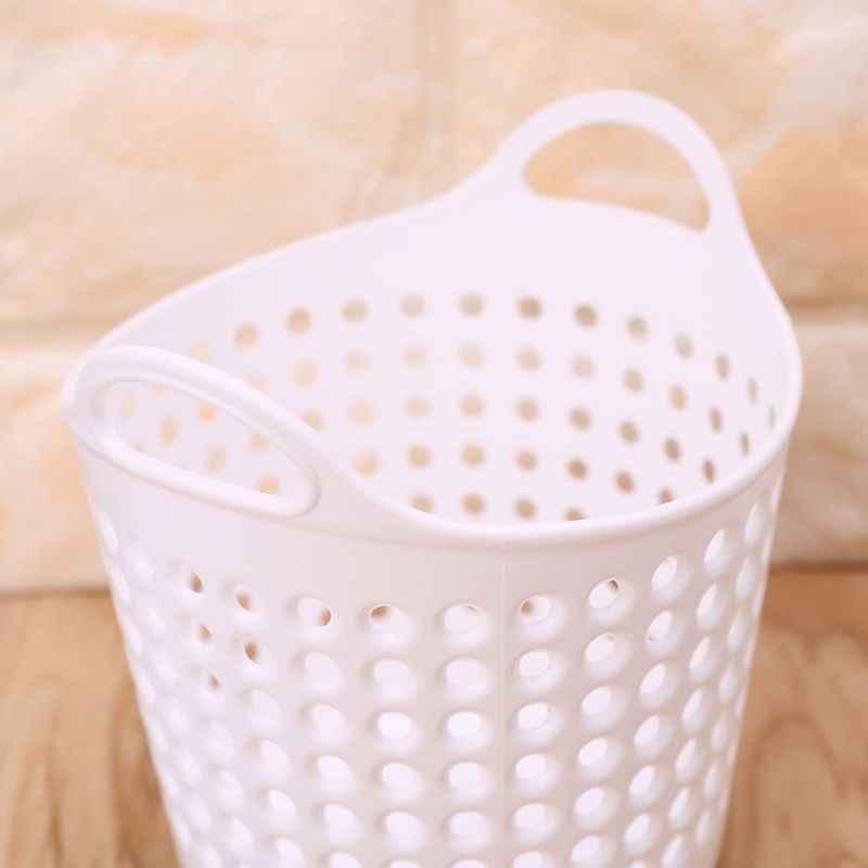 Taşınabilir Ev Kullanımı Mini Masaüstü Depolama Sepeti Pot Makyaj Organizatör Fırça kalemlik çöp kutusu çöp kutusu Bej Beyaz Gri