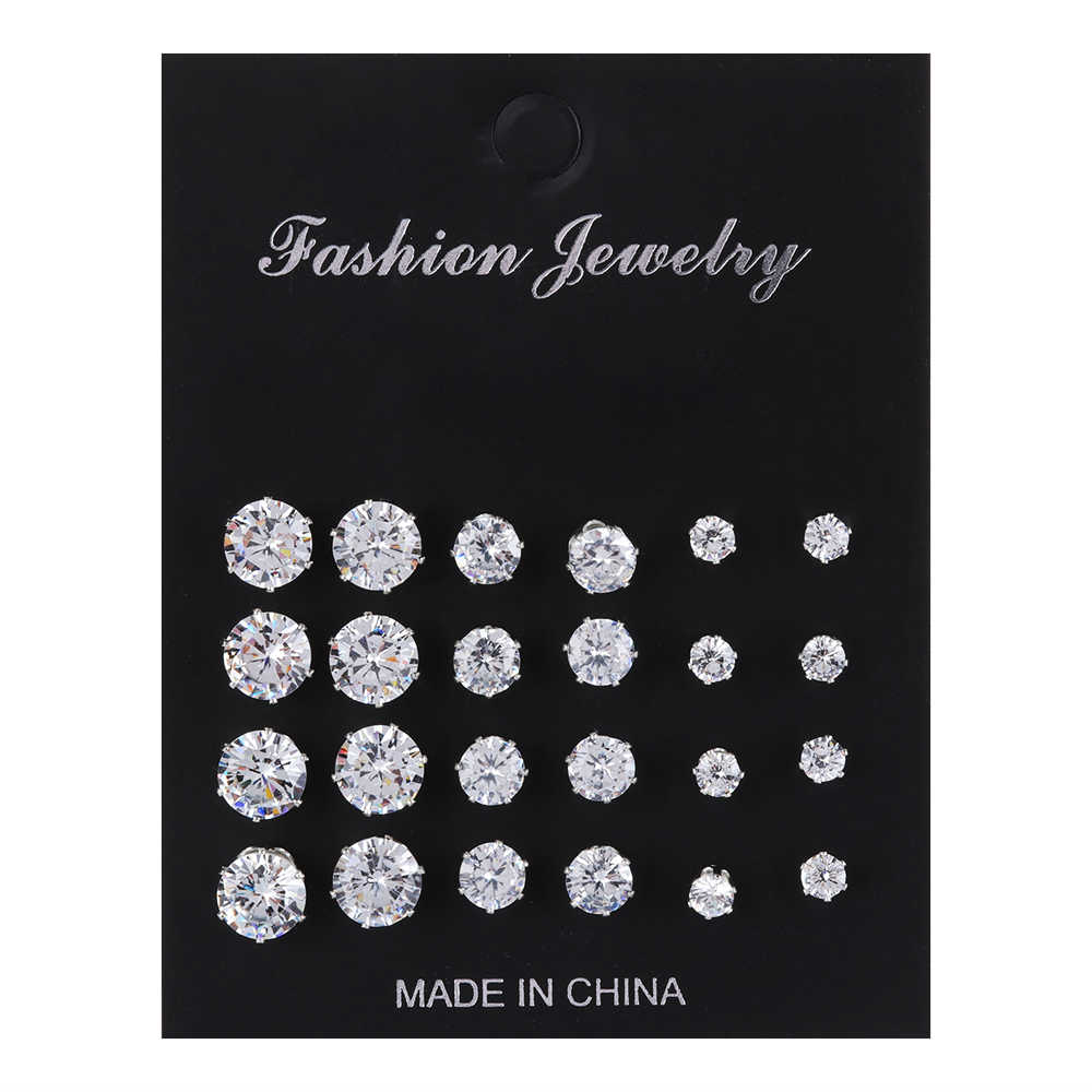 6/12 Pairs Exquisite Geometric Crystal Elegant Wedding Stud Earrings Set Simple Women Alloy Round Zircon Earring Sets Jewelry