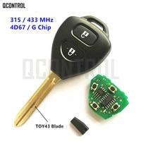 QCONTROL Dominante Alejada para Toyota Camry Corolla Vios Hilux Prado RAV4 Yaris Coche 315 MHz/433 MHz G/4D67 Chip