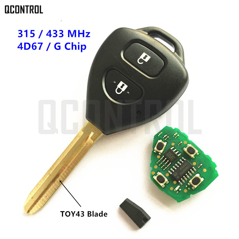 QCONTROL Remote Key for Toyota Camry Corolla Prado RAV4 Vios Hilux Yaris Car 315MHz/433MHz G/4D67 Chip 10pcs lot high quality car key chip transponder h 8a chip 128 bit for toyota rav4 camry