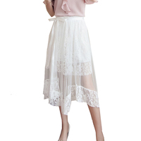 2017 Solid Color Mesh Lace Lady Two-piece Skirt Fashion Transparent Female Skirts Hollow Out A-line Summer Lady Feminino