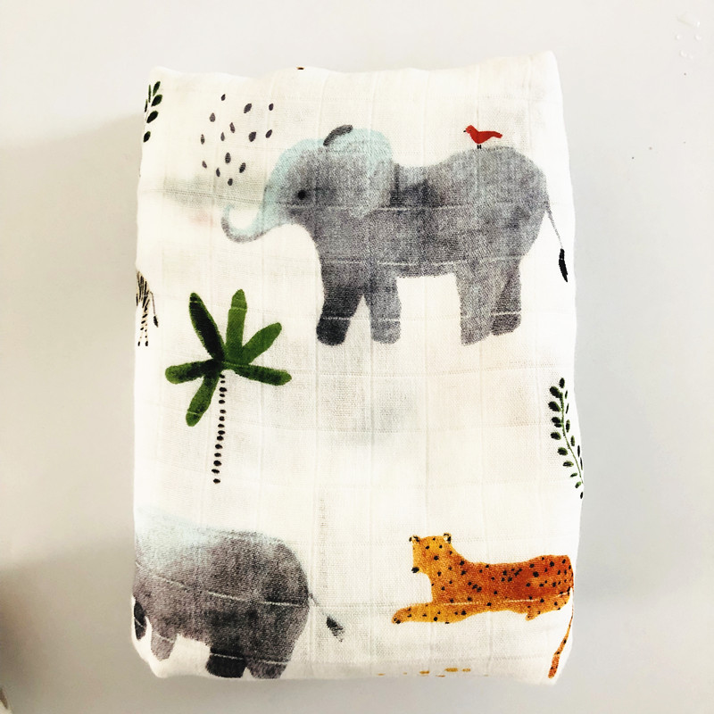 Elephant70%bamboo30%cotton Baby Muslin Swaddle Blankets Diaper Newborn Blankets Gauze Infant Wrap Sleepsack Swaddleme Bath Towel