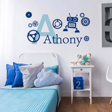 Robot and Gears With Personalized Name Wall Sticker Customized Monogram Vinyl Decal Kids Boys Nursery Decoration AY083