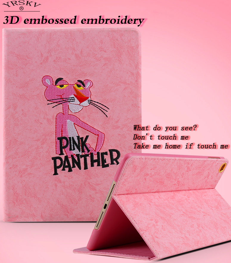 Case for iPad 4 3 2 YRSKV Smart Sleep Wake up Flip Stand leather cover 3D relief Embroidered Pink Panther shell