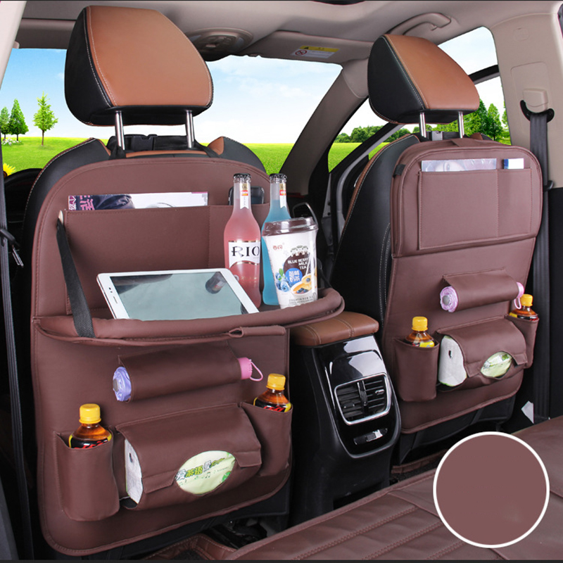 2018 New Car Ceat Storage Bag Hanging Universal Auto Multi-pocket PU Organizer Bag Leather Pad Car Ceat Shopping Cover