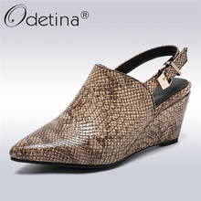 Odetina New Fashion Sexy Snakeskin High Heels Women Wedge Pumps Pointed Toe Slingback Dress Shoes Buckle Ankle Strap Big Size 43