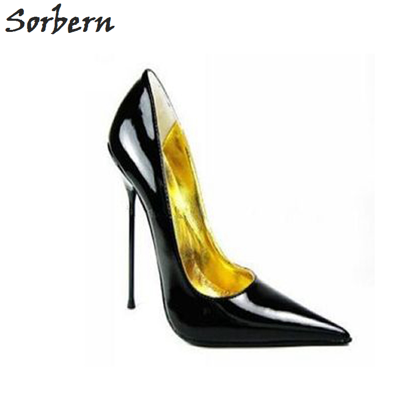 Sorbern Size 32-52 Thin Metal Heel Pumps Pointed Toe Stilettos Heeled 12Cm 14Cm Ladies High Heels Shoes Pointed Toe Heels Multi sequined high heel stilettos wedding bridal pumps shoes womens pointed toe 12cm high heel slip on sequins wedding shoes pumps