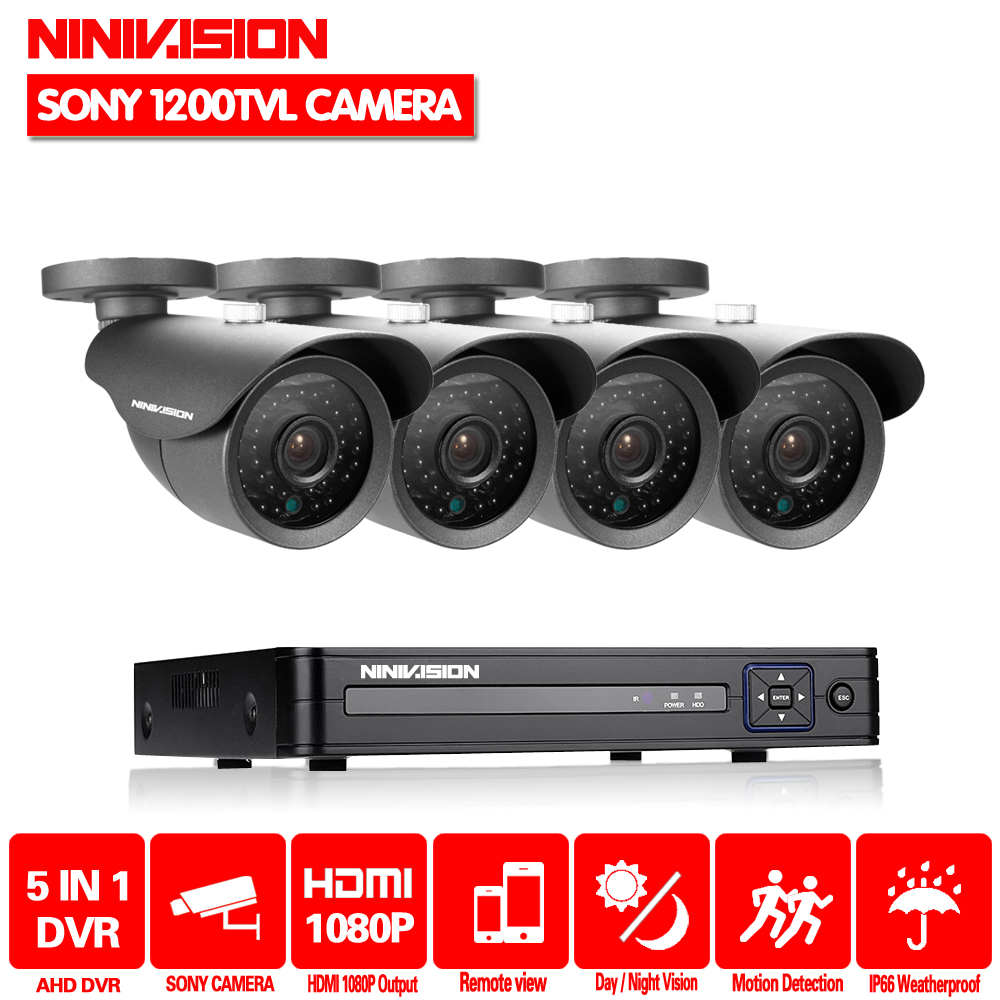 NINIVISION 4CH CCTV System 1080P HDMI AHD CCTV DVR 4PCS SONY 1200TVL 720P IR Outdoor Security Camera Surveillance System стоимость