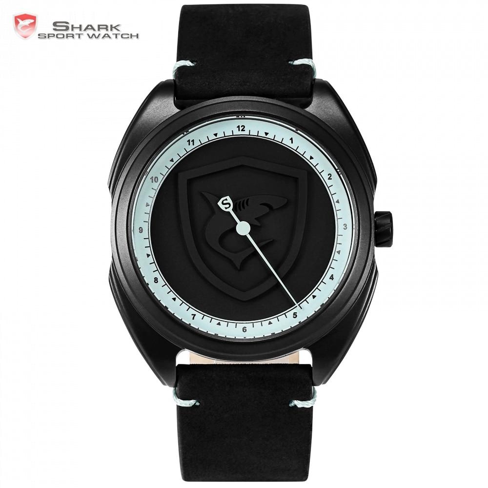 Slim Turkse Tapijt Shark Sport Horloge Originele Groene Een Uur Hand Ontwerp Lederen Band Quartz Mannen Klok Reloj Hombre Horloges/ Sh573