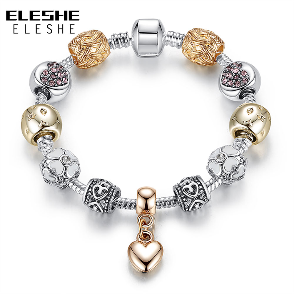 ELESHE Luxury Silver Color Daisy Flower Beads Bracelet Bangle for Women Crystal Heart Charms Bracelet Women Jewelry Bijoux Gift