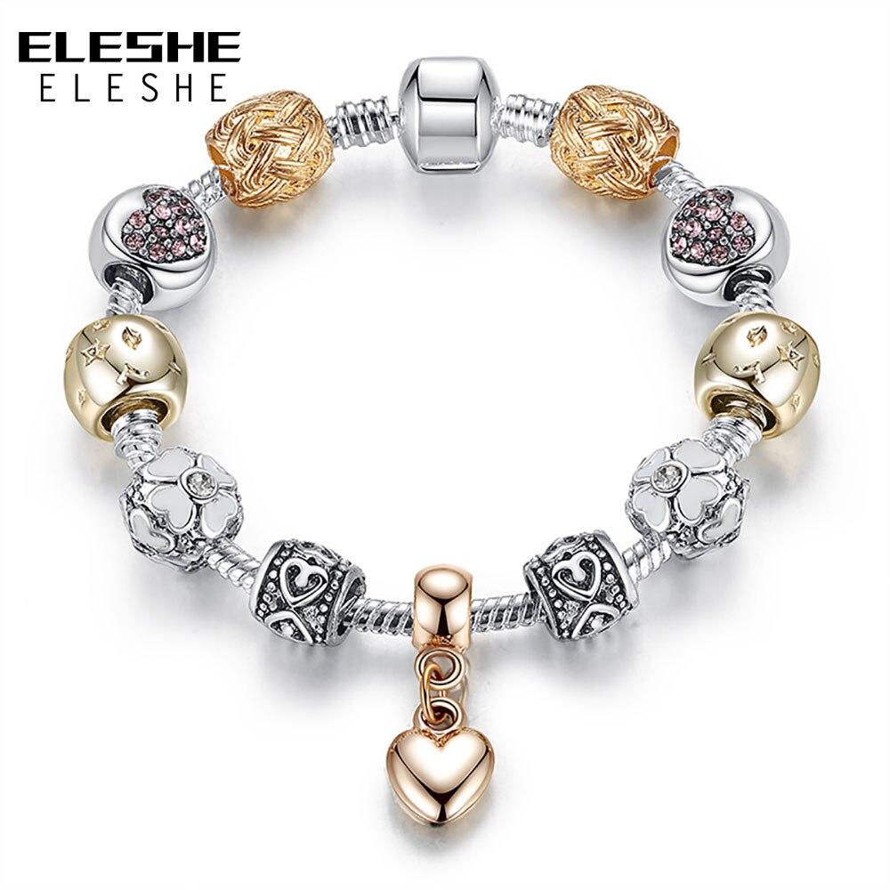 ELESHE Luxury Silver Daisy Flower Beads Bracelet Bangle for Women Crystal Heart Charms Bracelet Women Jewelry Bijoux Gift