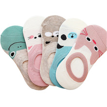 5 Pairs lot Women Socks Candy Color Small Animal Cartoon Pattern Boat Sock Suit for Summer