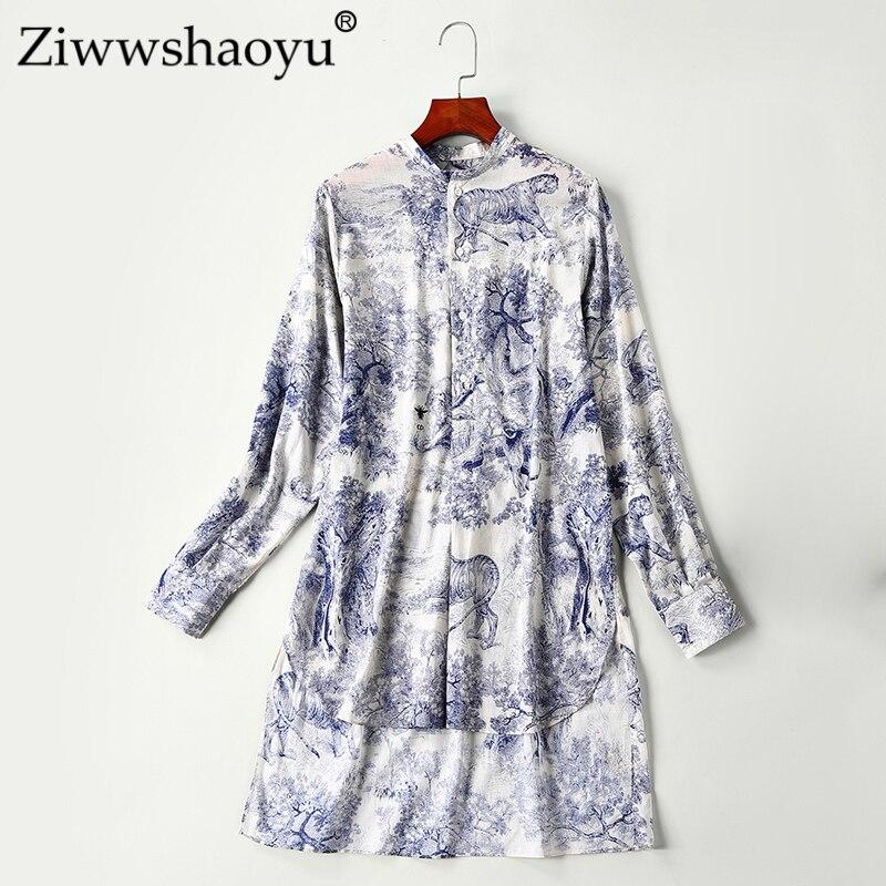 Ziwwshaoyu High quality 100%cotton shirt 2019 fashion long sleeve women's shirt lapel bohemian long casual top