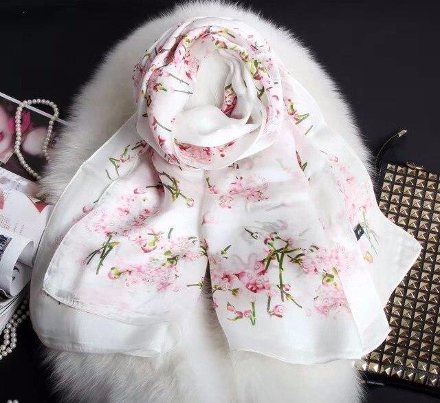 5 Цветов 180*70 см Новое Прибытие! 2017 Новые женская Мода маленький цветок печатных длинный шелковый шарф, бесплатная Доставка Шелковые Шарфы