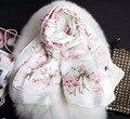 5 Colores 180*70 cm Nueva Llegada! 2017 La Más Nueva Manera de Las Mujeres pequeña flor impresa, bufanda de seda larga envío Libre de Seda Bufandas