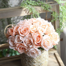 9pcs/lots Artificial Rose Flowers Wedding bouquet White Pink Royal Silk flowers Home Decoration Party Decor