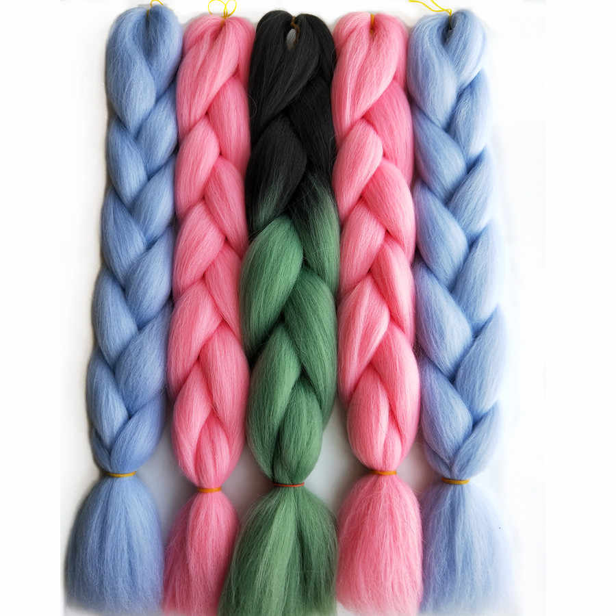 "Pervado Hair 24"" (60CM) 1PC Synthetic Jumbo Braids Hair Extensions Gray Pink Blue Solid Color Crochet Braiding Hair Bulk"