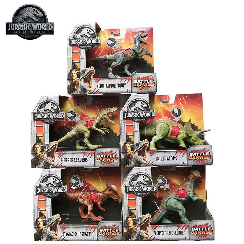 5PCS Original Jurassic World Toys Attack Pack Velociraptor Triceratops Dragon PVC Action Figure Model Dolls Toys For Children