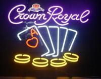 Custom Crown Royal Poker Beer Glass Neon Light Sign Beer Bar