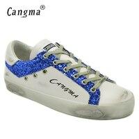CANGMAออกแบบยี่ห้อฤดูใบไม้ผลิฤดูใบไม้ร่วงแบนรองเท้าหญิงสีขาวหนังแท้สีฟ้าประดับด้วย