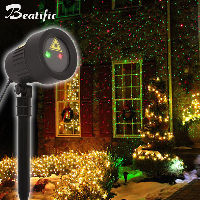 Outdoor Christmas Stars Light Projector Static Effect Show Red Green Laser Lights Decorations For Home