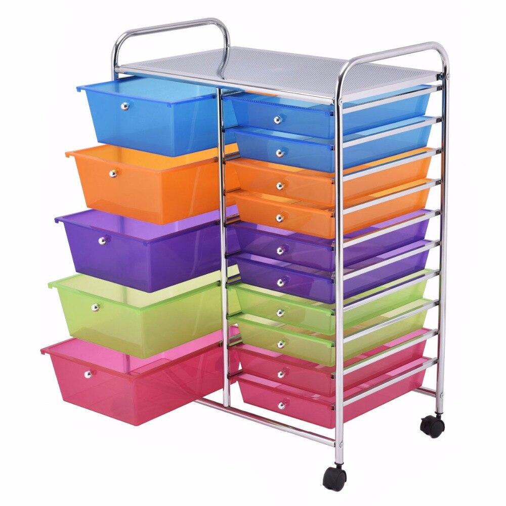 Giantex 15 Drawer Rolling Storage Cart Tools Scrapbook Paper Office