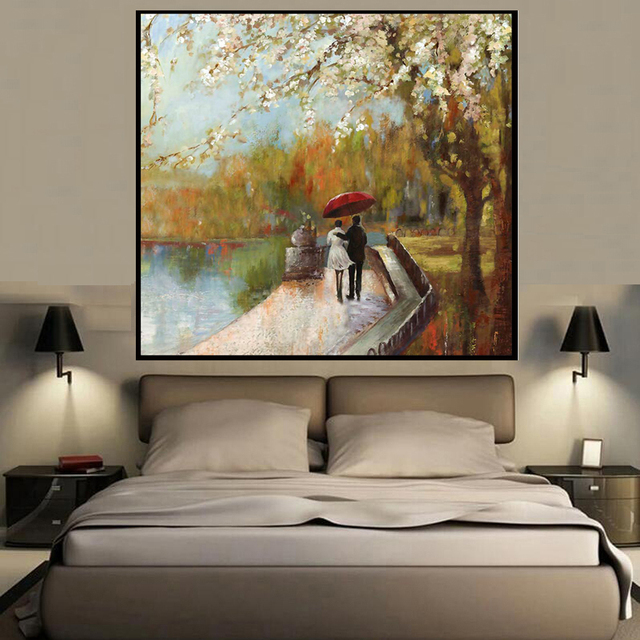 Square abstract romantic couples landscape style wall art - Oil painting ideas for living room ...