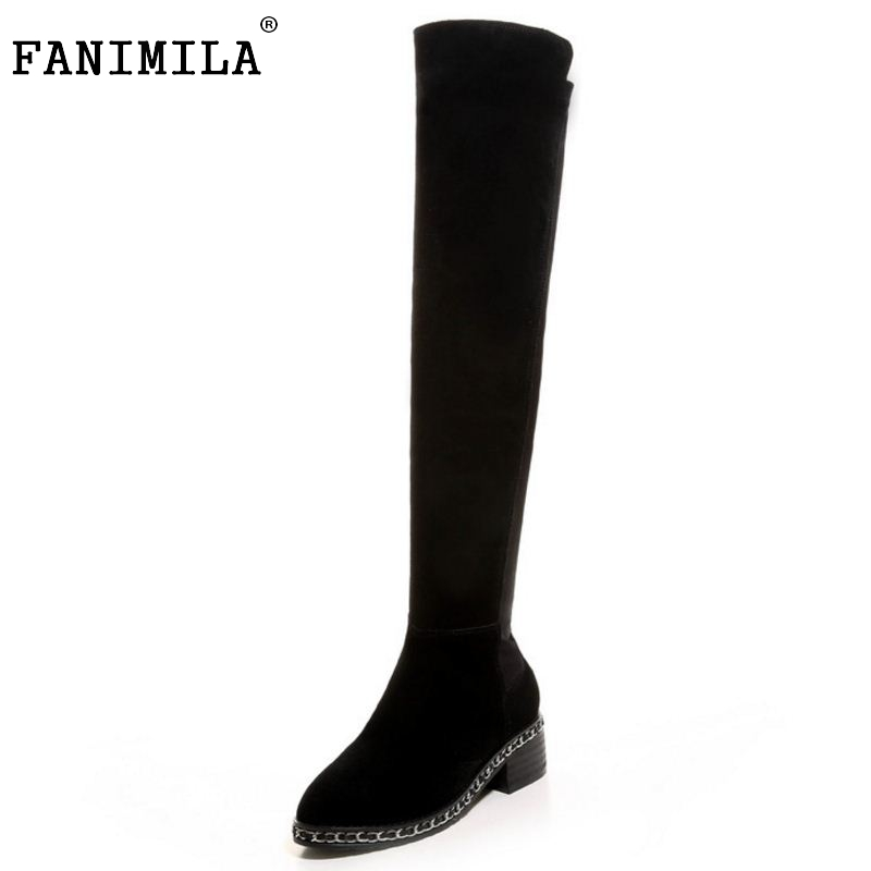 FANIMILA Hot Autumn Winter Warm High Heels Botas High Snow Boots Real Genuine Leather Female Over The Knee Shoes Size 33-41 hot sale top quality real leather woman shoes winter over the knee high boots long tube high female wedge heeled booty
