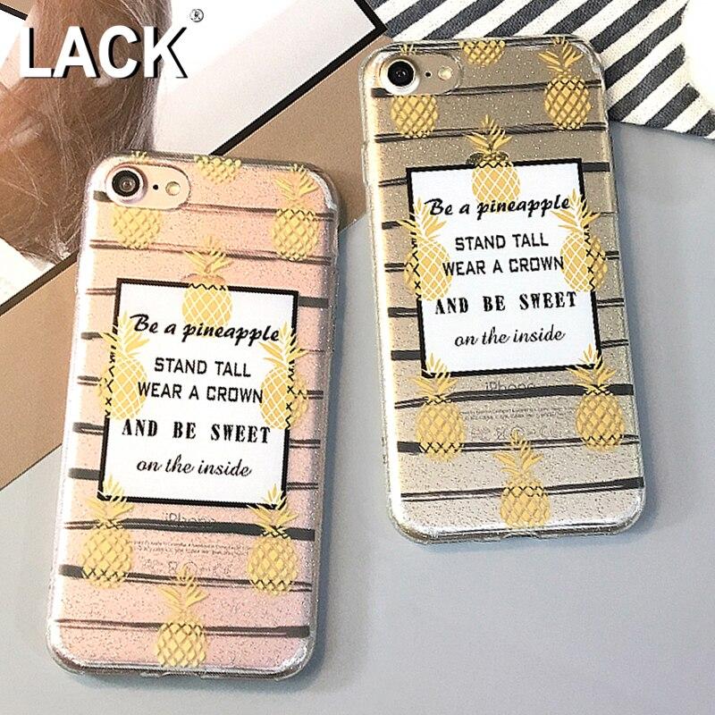 FALTA de Moda Más Reciente Borrar Bling Glitter Piña Dulce Carta Fundas Para iphone 6 cajas del teléfono de tpu suave para iphone 6 s 7 7 plus