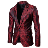Mens Slim Peak Lapel Wine Red Floral Casual one Button Suit Coat Jacket Blazers Summer Party Tops