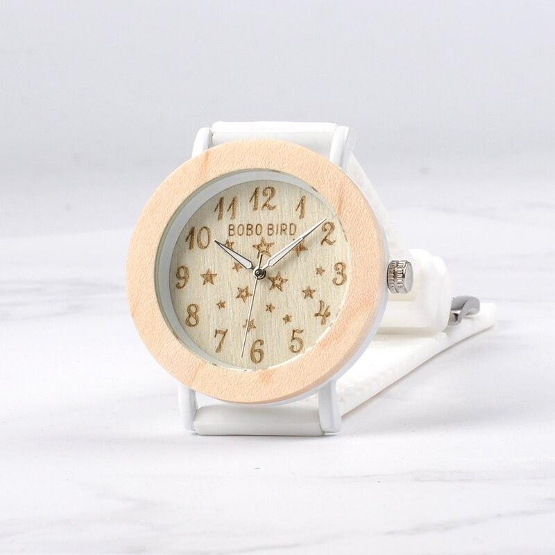 BOBO BIRD P21 Wooden Women Watches Star Series Ladies Quartz Dress Watch With White Strap