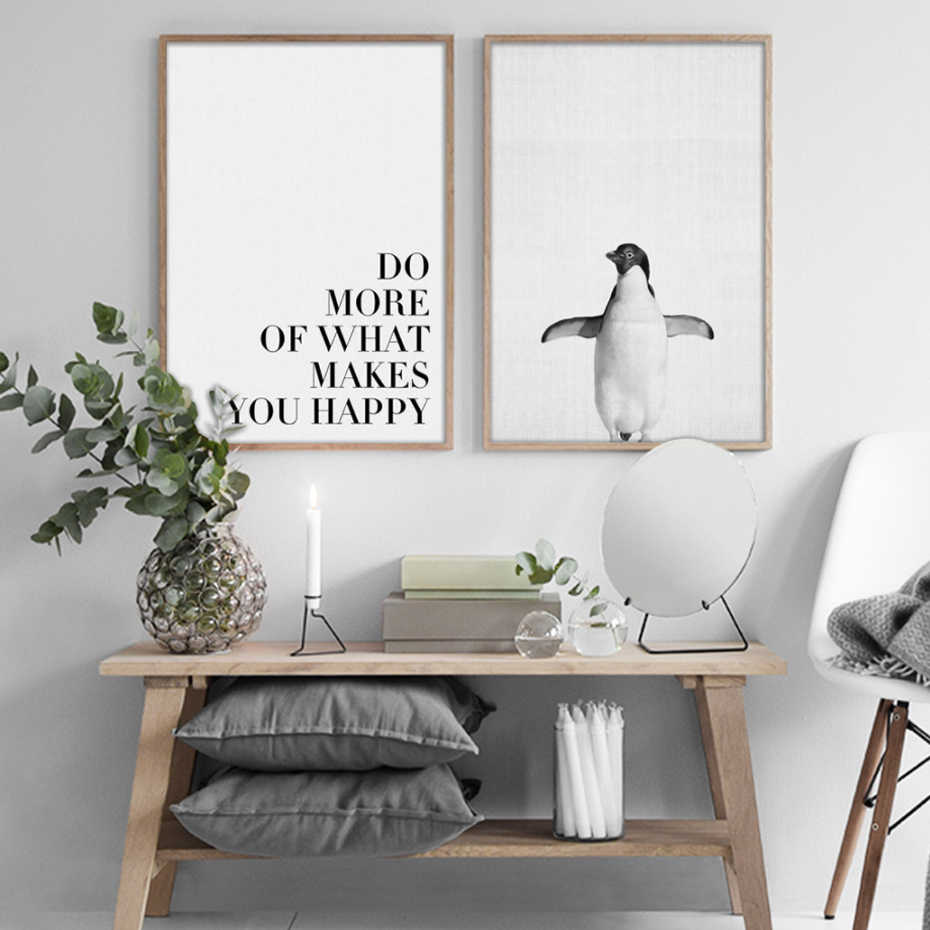 Modern Penguin Landscape Canvas Paintings Abstract Black White Posters Print Nordic Wall Art Pop Pictures Living Room Home Decor