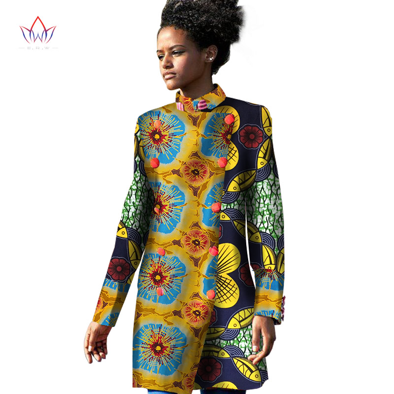 2017 Spring Traditional African Women Trench Coat African Trench Coat for Women Long Sleeve Print Cotton