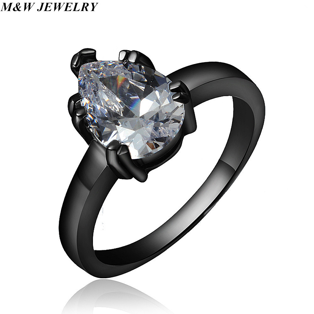 M&W JEWELRY fine water drop ring 2018 new products listed black gold ring for women ring hot AAA+ Cubic Zirconia ring Jewelry