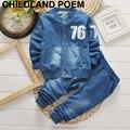 Primavera set roupas meninos crianças carta azul de algodão único breasted moda bebê meninos roupas outerwear jaqueta + calça 2 pçs/set